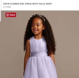 Satin Flower Girl Dress with Tulle Skirt in Iris